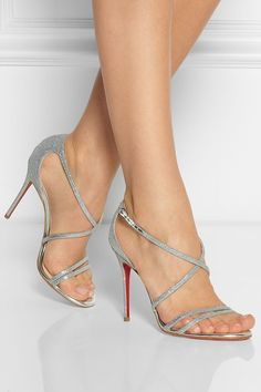 Christian Louboutin | Gwynitta 100 glitter-finished leather sandals