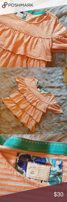 Postmark Anthro Orange and White Ruffle Top Size S A beautiful hardly worn postmark by Anthropology top. Orange and white stripes. Short sleeve with a ruffle design on the front and the bottom of the back. No damage. Anthropologie Tops Blouses