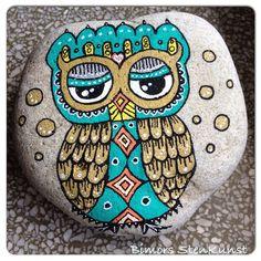 #instacollage#paintstone#paintonrock#owl
