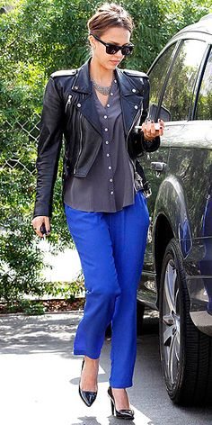 Blue pants and silk top with a cool black Ralph Lauren Collection moto jacket, patent leather pumps and a silver House of Lavande Vintage necklace.