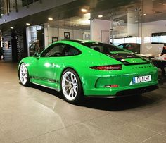 Presenting the first publicly known PTS Viper Green (vipergrün; non-metallic; 225) 911 R, chassis #986/991, from Porsche Center Malmö in Sweden. This example has Porsche Exclusive CXX hood stripes in Gloss Black. I know of another Viper Green 911 R that has already been delivered to its owner in Germany, but no images I can show you. That example has no hood stripes and wheels in Black. Paging @jeffcherun. Thanks to everyone who informed me of this! : @porschemalmo