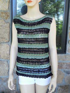 Tricolor  Crochet Top-Vest by CasadeAngelaCrochet on Etsy