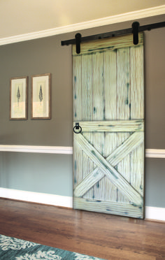 Lower X Plank Barn Door w/ Ring Pull and Whitewash Finish