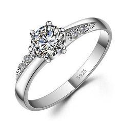 Custom Name Engraved Zircon Promise Ring for Her