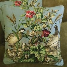 Scalamandre Fabric Custom Designer Throw Pillows Edwin's Covey Blue Green Set 2