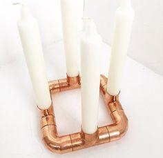 Quattro Copper candle holder Square / Rose gold / Industrial