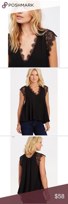 "Free People Lovin On You Top in Black Lightweight femme top featuring a swingy silhouette with sheer material and lace trim along the V-neckline. A reversible swingy top perfect for day or night. Scooped neck Abbreviated cap sleeves Reversible design 100% rayon Machine wash, tumble dry Measurements for size Medium  Bust: 50"" Length: 24"" 100% Rayon Free People Tops"