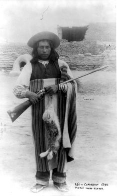 Circa 1890. Pueblo Indian Hunter. Young Indian holding rifle and dead rabbit; Pueblo of Isleta, New Mexico. Charles F. Lummis LC-USZ62-48460 http://www.loc.gov #American #History #NewMexico