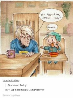 Draco and teddy. Draco in a weasley sweater Hogwarts, Harry Potter Jokes, Harry Potter Fandom, Scorpius And Rose, Teddy Lupin, Yer A Wizard Harry, Fandoms Unite, Harry Potter Universal, Dramione