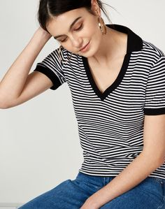 Stripe Polo Tee Shirt | Buy Online at Glassons