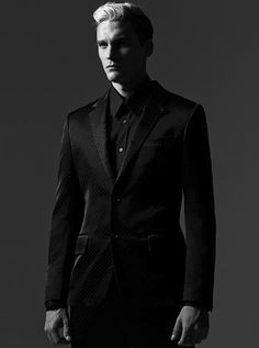Alexander McQueen by Creative, Art, Photo, Fashion Director & Stylist Vinny Michaud with Model Alejandro Rodriguez in Black & White. Suits & Designer Mens Fashion by Stylist Vincent Michaud.