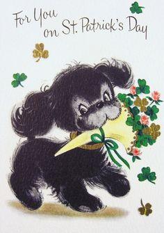 Image result for vintage st. patrick's day card poodle