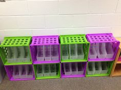 Using crates to store book boxes.  Zip ties hold them together!