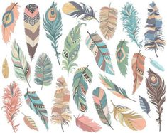 Tribal Feathers Clipart  Set of 31 Vector PNG & JPG Files