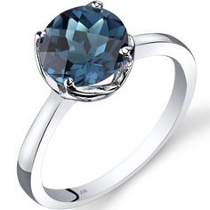 Oravo 14k White Gold 2 1/4ct TGW London Blue Topaz Checkerboard-cut Solitaire…