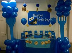 Cookie Monster Birthday Table