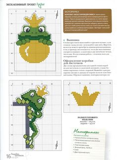 EMBROIDERY – CROSS-STITCH / BORDERIE / BORDUURWERK – FROG / GRENOUILLE / KIKKER - frogs