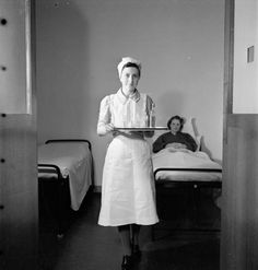 "This nurse's uniform consists of a ""spotless apron and a practical but attractive mob cap, made simply from a plain triangle of linen"". 1943."