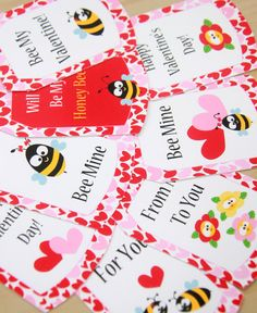Cutest 'Bee my Valentine' Printable Party Tags by PixieBearParty on Etsy