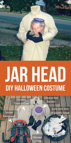 DIY Costume - make a jar head Halloween costume! via www.thirtyhandmadedays.com
