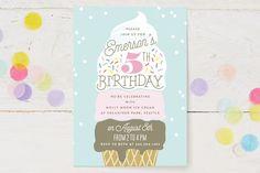Ice Cream Cone Children's Birthday Party Invitations