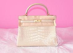 Hermes Beton White GHW Matte Crocodile Kelly 32 Handbag - New