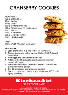 Cranberry Cookies Recipe KitchenAid