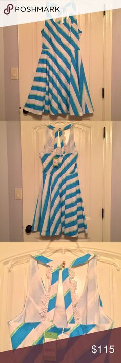 "NWT Lilly Pulitzer Blue and White Stripe Dress NWT beautiful Lilly Pulitzer dress! Back zipper, bottom collar with lace detailing. Full skirt to give a fun playful feel!! Armpit to armpit 18"" (laying flat) and 39"" from shoulder to hem. 100% Cotton. Lilly Pulitzer Dresses"