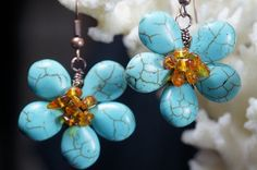 Turquoise Amber Earrings Wired Flower Earrings by Trendydeals, $32.00