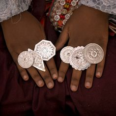 Libya, A girl from Ghadames wearing some traditional rings during the local festival.