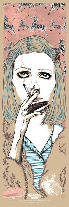 "bad dads at spoke art  Rhys Cooper ""margot helen tenenbaum"" the royal tenenbaums. smoking. wes anderson. (sold out)"