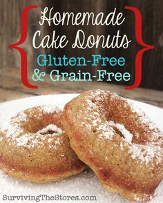 Homemade Grain-Free Donuts With Coconut Flour! I think these would be an S-crossover and you would need to use Truvia/Nu-Naturals instead of the honey (just add some extra coconut oil). Also, maybe unsweetened applesauce instead of bananas? Gluten Free Grains, Gluten Free Sweets, Paleo Sweets, Foods With Gluten, Gluten Free Cooking, Gluten Free Recipes, Donut Recipes, Real Food Recipes, Cooking Recipes