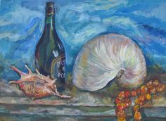 oil on canvas.   Still life with sea shells.