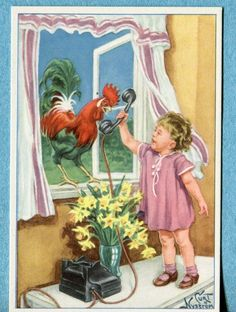 X9363 Swedish miniature by Curt Nystrom, Girl hands telephone to rooster picclick.com Girls Hand, Telephone, Pet Supplies, Rooster, Miniatures, Pottery, Hands, King, Pets
