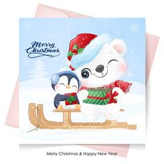 Cute polar bear and penguin for christm... | Premium Vector #Freepik #vector Xmas Greetings, Happy New Year Greetings, New Year Greeting Cards, Merry Christmas And Happy New Year, Christmas Greeting Cards, Christmas Party Poster, Christmas Labels, Christmas Frames, Christmas Ideas