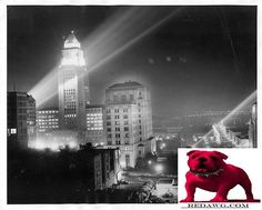 1947 L.A. City Hall Beams of Light for American Legion Los Angeles California