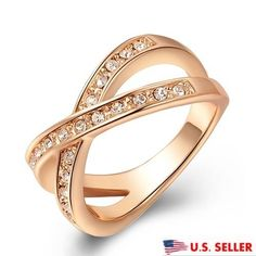 Wholesale 1PC 18K gold Plated Cubic Zirconia Popular Lady/'s Ring Size 7-9
