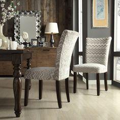Parson Grey/ Ivory Chevron Print Fabric Side Chairs (Set of 2)