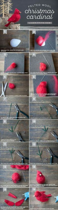How to Make a Needle-Felted Cardinal Bird - Lia Griffith Make your own gorgeous felt cardinal bird to symbolize hope, joy, love, focus and energy. The perfect DIY tutorial by handcrafted lifestyle expert Lia Griffith Wool Needle Felting, Needle Felting Tutorials, Needle Felted Animals, Wet Felting, Felt Animals, Christmas Needle Felting, Felted Wool Crafts, Felt Crafts, Cardinal Birds