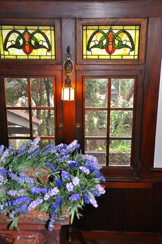 Art Glass Windows in a home on the West Adams Home Tour