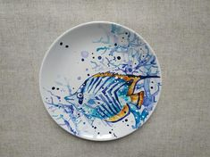 Decorative Wall Plate, Decorative Plates, Ceramic Plates, Decorative Plates For Hanging, Fish Plate. Painted Ceramic Plates, Hand Painted Ceramics, Ceramic Painting, Ceramic Art, Decorative Plates, Plate Art, Plate Crafts, Contemporary Ceramics, Etsy Shipping