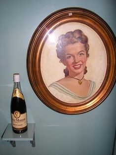 Marilyn Monroe - 1947 - she poses to publicize the wine Dolley Madison - painting by Gordon Provonsha