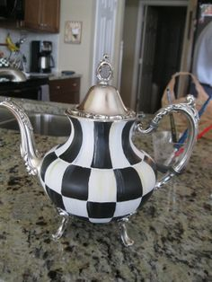 Checked Tea Pot- - MacKenzie-Childs Inspired