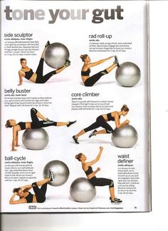 Tone Your Gut With An Stability Ball (Exercise Ball) #core belly buster, core climber, ball-cycle, waist definer, rad roll-up, side sculptor