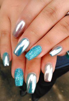 turquoise chrome nails