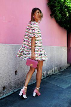 Dezzal dresses, pink heels, pink shoes, pink bag, mini dress, cristina surdu