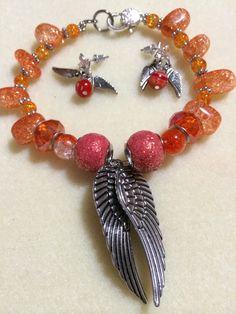 Orange Blossoms On Angel Wings by JewelsByScarlett on Etsy