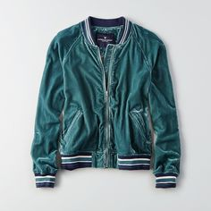 AE Velvet Varsity Bomber ($28) ❤ liked on Polyvore featuring outerwear, jackets, blue, lightweight bomber jacket, american eagle outfitters jacket, blue striped jacket, blue bomber jackets and velvet jackets