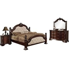 Furniture of America Kassania Luxury Leatherette Bedroom Set Ivory California King Modern Bedroom Furniture Sets, Bed Furniture, Fancy Bedroom Sets, Sleep On The Floor, California King Mattress, Headboard And Footboard, Dresser With Mirror, Traditional Furniture, Cool Beds