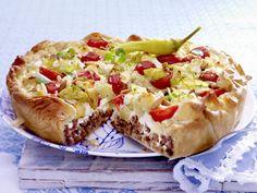 griechische hackfleischtorte mit filoteig zubereitungszeit 1 std 15 min...aber es lohnt sich...toooootal lecker !!!